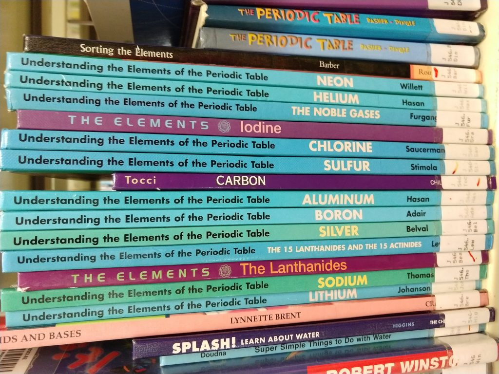 picture of chemistry books in a library